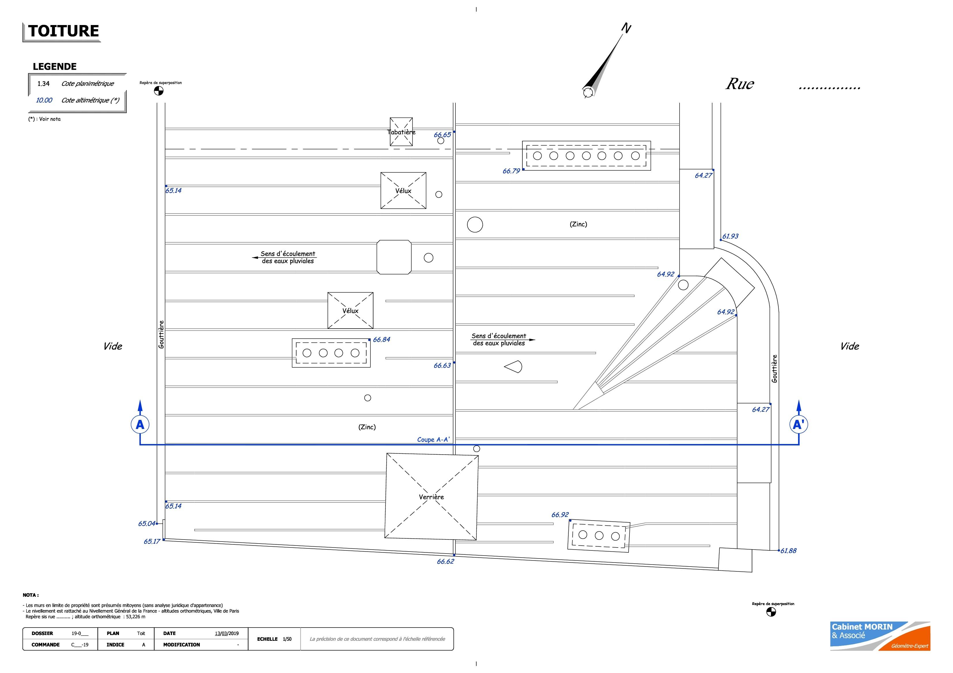 Plan de toiture - CABINET MORIN & ASSOCIE